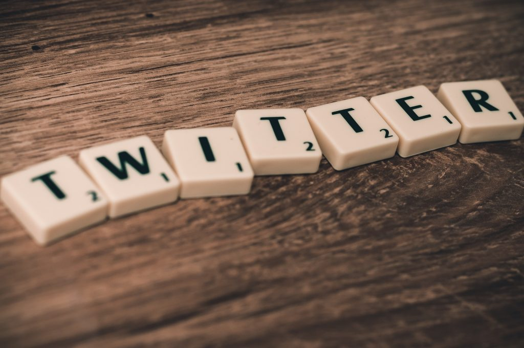 """Twitter for Authors: Scrabble characters spelling """"Twitter"""""""